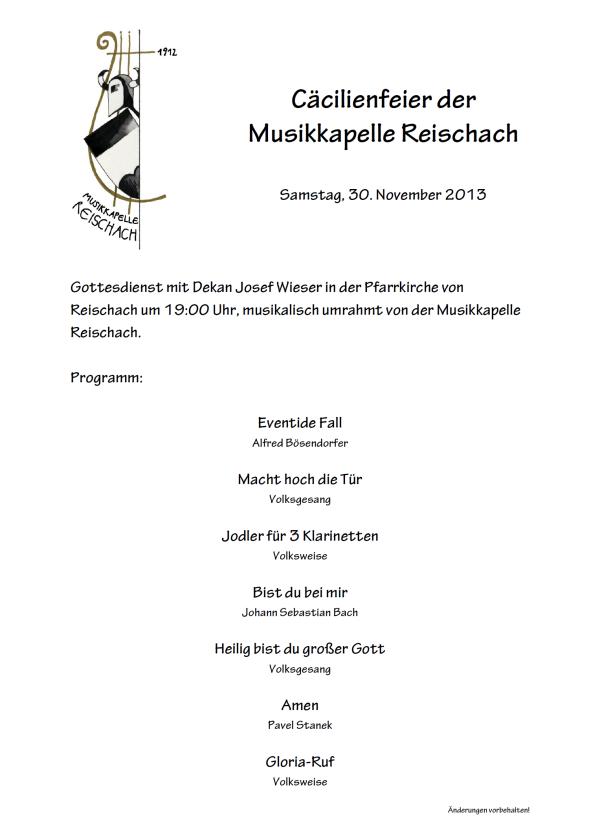 Programm Cäcilia 2013